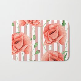 Poppies Dusty Pink Stripes Bath Mat