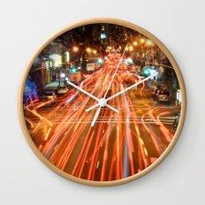 City Traffic In The Night Wall Clock