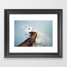 selfportrait with cat Framed Art Print