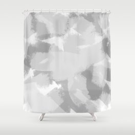 Gray and White Abstract Shower Curtain