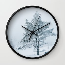 White Winter - Snow-Covered Bench and Tree in Norwegian National Park Wall Clock