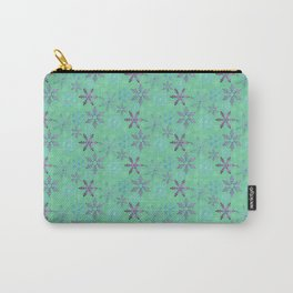 Purple Glitter Snowflakes | Dark Green | Christmas Holiday Carry-All Pouch