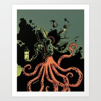 scuba Art Prints featuring tentacle scuba by Sarah Baslaim