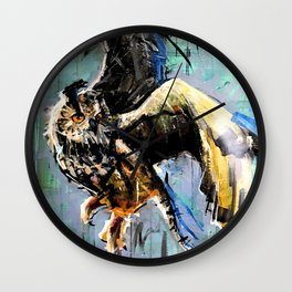 The Hunt. Great Horned Owl. owl painting Wall Clock