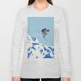 Airborn Skier Flying Down the Ski Slopes Long Sleeve T-shirt