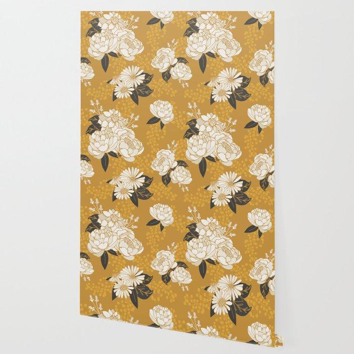 Glam Florals - Gold Wallpaper