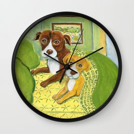 Pitbulls on patterned sheets Wall Clock