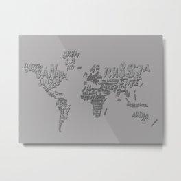 world map typography grey 1 Metal Print