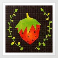 strawberry Art Prints featuring Strawberry by Strawberringo