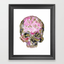 Skull In Pink & Gold Framed Art Print