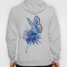 Blue Butterfly and Blue Flower, marine blue minimalist floral butterfly design Hoody