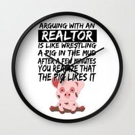 Real Estate Agent Realtor Pig Piglets Wall Clock