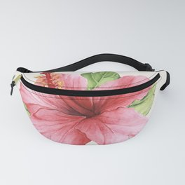 Tropical Pink Hibiscus Flower Fanny Pack