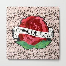 Feminist As Fuck Tattoo Rose Watercolor Metal Print