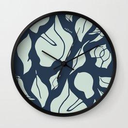 Gum Leaf Forms – blue/green Wall Clock