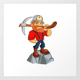 miner funny with pick.Prospector cartoon Art Print
