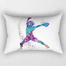 Girl Baseball Softball Pitcher Rectangular Pillow