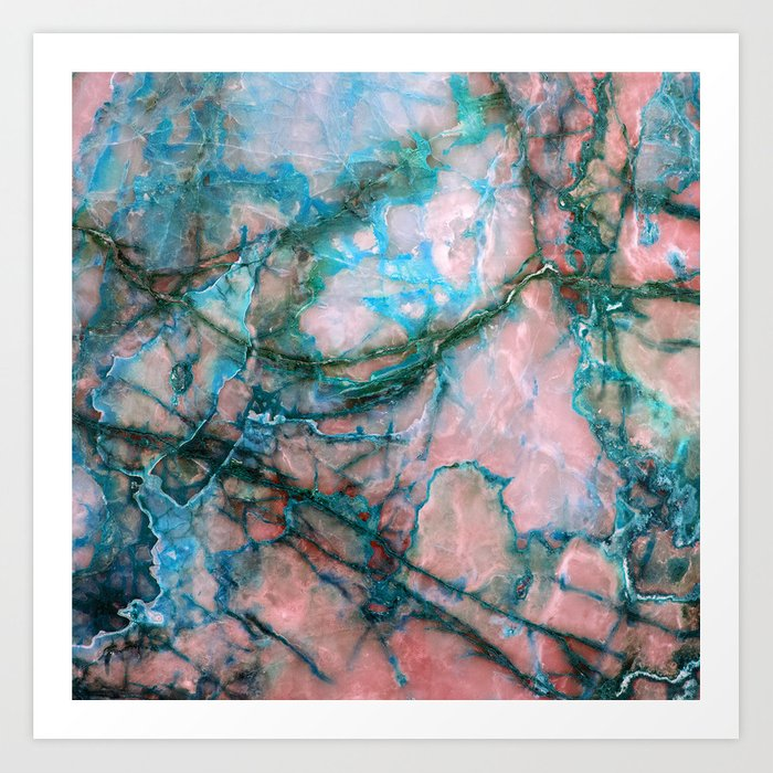 Pink and Blue Marble Art Print