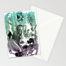 Blue Heron in Pen and Ink Stationery Cards