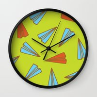 planes Wall Clocks featuring Paper Planes by evannave