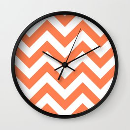 Large chevron pattern / coral Wall Clock
