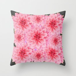 PINK DAHLIA FLOWERS IN GREY DESIGN Throw Pillow