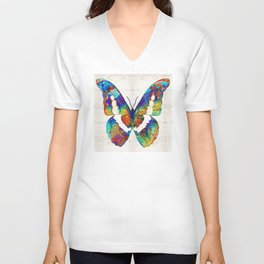 Colorful Butterfly Art by Sharon Cummings Unisex V-Neck