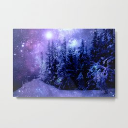 Galaxy Winter Forest Lavender Purple Blue Metal Print