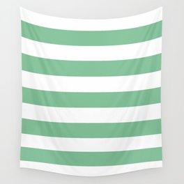 Asda Green (1994) - solid color - white stripes pattern Wall Tapestry
