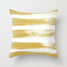 Gold Brushstrokes Throw Pillow