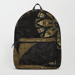 Boho chic Gold Lace Black  Flower Mandala Backpack