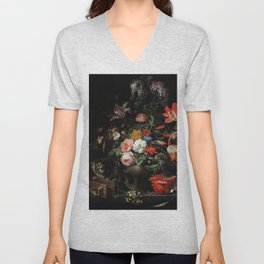 The Overturned Bouquet by Abraham Mignon Unisex V-Neck