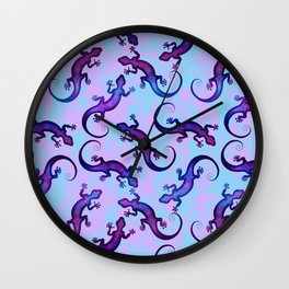 Decorative stylish pink blue shiny violet purple lizard distressed pattern. Beautiful delicate colorful crawling lizards. Gift ideas for lizard lovers & herpetologist. Wall Clock