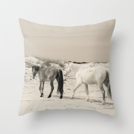 Wild Horses 6 - Black and White Throw Pillow
