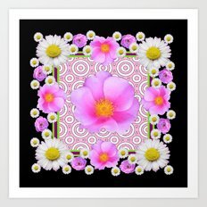 Floral Abundance Black Shasta Daisy Pink Roses Abstract Art For the home or the office and gifts fro Art Print