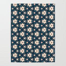Geometrical Dark Blue delicate Flower design Poster