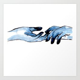 Acrylic hand study in blue Art Print