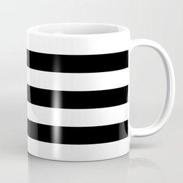 Large Black and White Horizontal Cabana Stripe Coffee Mug