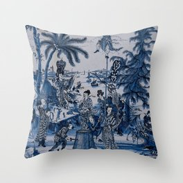 17th Century Delftware Chinoiserie Throw Pillow