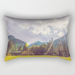 Panoramic time lapse of a forest in a very cloudy day Rectangular Pillow