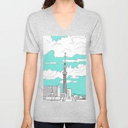 Tokyo Sky Tree Unisex V-Neck