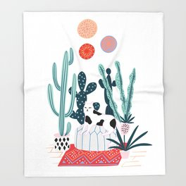 Cat and cacti Throw Blanket