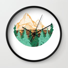 Mountains Geometry Outdoor Hiking Shirts for Men and Women Wall Clock