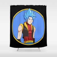 luffy Shower Curtains featuring Goffu! by Richard Riot