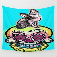 calavera Wall Tapestries featuring Ayla the sphynx and calavera by grapeloverarts
