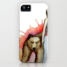 Girl and bear iPhone Case