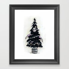 Black Xmas Tree Framed Art Print