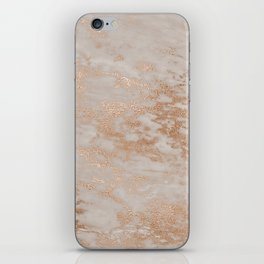 Rose Gold Copper Glitter Metal Foil Style Marble iPhone Skin
