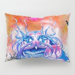"""""""G0d king owl"""" animal art , bird art . Surrealism Pillow Sham"""