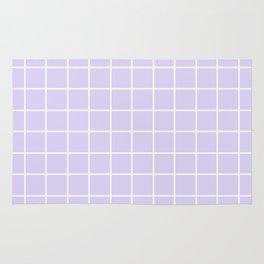 Lavender white minimalist grid pattern Rug